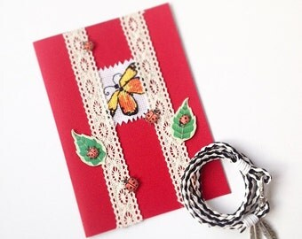 leather bracelet charm bracelet birthday card blank butterfly greeting cards handmade cards gift for mum gift for sister mother's day