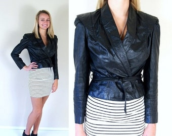 Sale vtg 80s Black Cropped LEATHER MOTORCYCLE JACKET Small belted crop moto skinny cafe racer coat outerwear