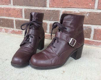 vtg 90s brown LACE UP leather Ankle Buckle BOOTS chunky 6.5 boho oxfords heels grunge brogues preppy shoes