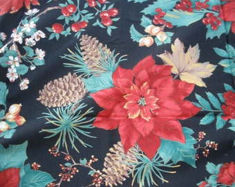 """Christmas Flowers & Pinecones Quilt Fabric 1.5 yards 54""""L x  44""""W VIP Pointsettia print holiday home decor vibrant red green black"""