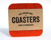 100% Merino Wool Felt Square Coasters - 5mm Thick German-milled Felt - Rich, Lightfast Colors - Natural and Renewable - Orange