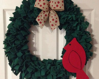 "Red and Green Wreath with Cardinal 20"" Ready to Ship"