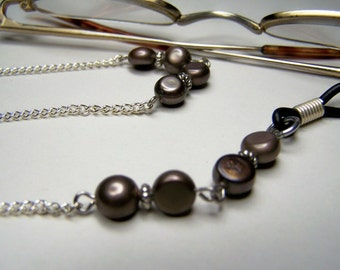 Eyeglass Holder, Coffee Color, Freshwater Pearl, One of a Kind Eyeglass Chain, Eyewear Necklace by Eyewearglamour