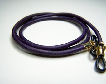 Custom Length, Purple Eyeglass Chain, 3mm Leather Cord, 24-36 Inches, Chain for Glasses, Eyeglass Lanyard by Eyewearglamour