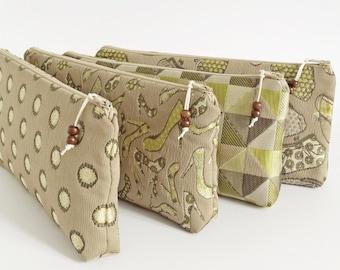 Bridesmaid Wristlet Gift Set of 4 Wedding Proposal Olive Clutch Bag Mismatched OOAK Asking Bridesmaid Gift On a Budget