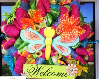 Welcome Butterfly Spring and Summer Wreath
