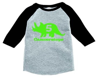 Dinosaur Birthday Shirt-3/4 or long sleeve relaxed fit raglan baseball shirt - Any age and name - pick your colors!