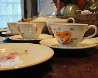 Vintage Edwin Knowles orange Poppy  dishes