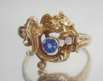 Antique Art Nouveau GRIFFIN / GRIFFFON Swirling around a Sapphire 14K