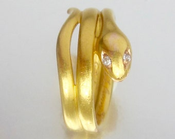 Antique (1893) Victorian Snake Ring with Diamond Eyes 14K. Antique Engagement Ring.