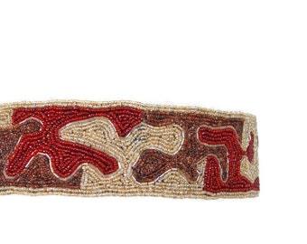 1970s Belt Beaded Belt Cream Brown Burgundy Belt Vintage 70s Belt Glass Bead Belt Burgundy Belt Patterned Belt