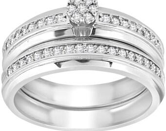 Diamond Engagement Ring Set Diamond Wedding Band 3/8cttw Diamond Engagement Wedding Ring Set 10k White Gold