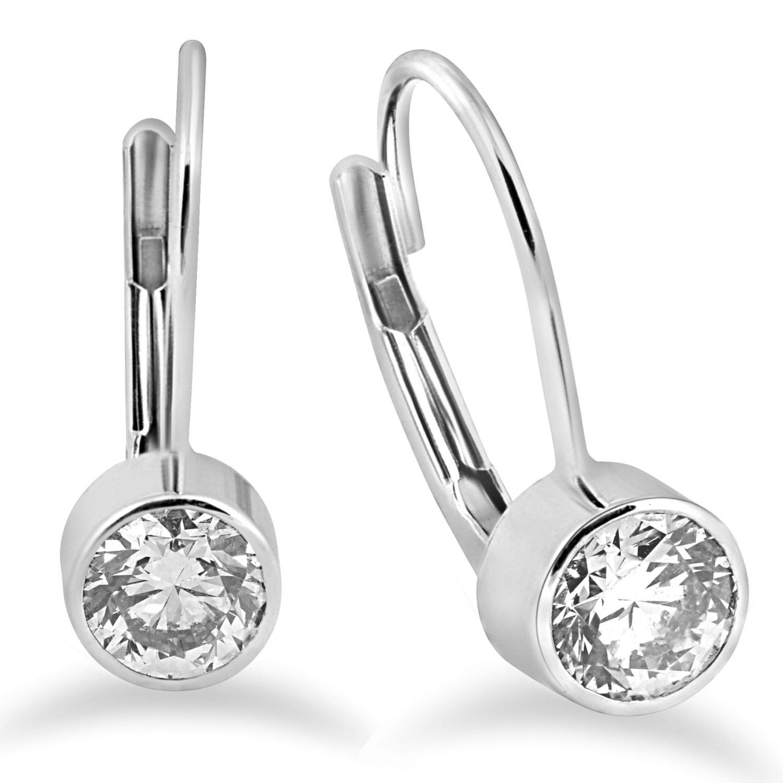 Lever Back Diamond Studs Bezel Diamond Studs VS 60CT