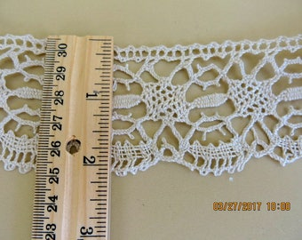 Old Ecru Torchon Barmen Lace from 1900s Scalloped Edge 2 1/3 Inches Wide by 2 1/4 Yards 734b