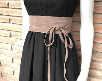Taupe suede OBI belt, SASH in genuine soft  suede,waist belt,soft leather belt, beige sash, obi, boho belt, bohemian sash, boho beige belt