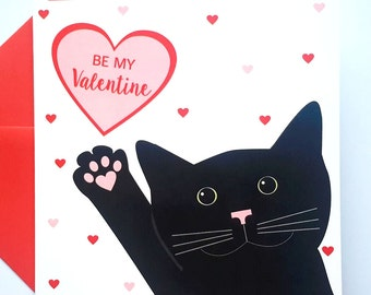 Black Cat Valentine Card - Be My Valentine Cat Card