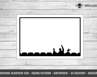 MST3K silhouette dry erase board aluminum sign - geek gift