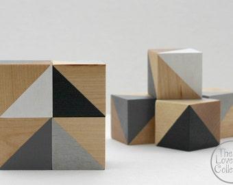 Painted Wood Blocks Set - Monochrome
