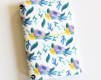 Floral Field Notes Fabric Fauxdori Travelers Notebook Cover Planner Journal Jotter Flower Watercolor Handpainted