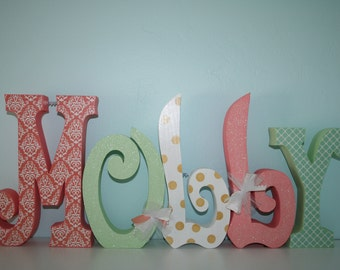 Baby name letters, Nursery decor, Nursery letters, 5 letter set, Pink and gray, Coral and mint, Wooden letters,Gold, coral, Mint decor