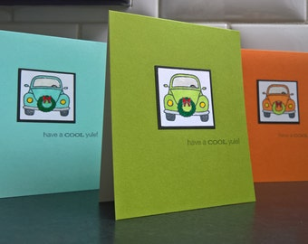 VW Beetle Christmas Cards Set of 3, VW Bug Holiday Cards, Volkswagen Cards
