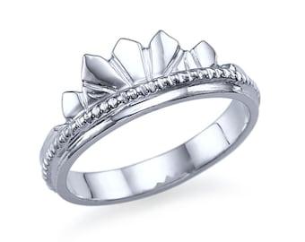 Crown 14K White Gold Wedding Ring Plain Band Ring Solid 14K White Gold Band Size 5 Crown Band Sizeable Handmade