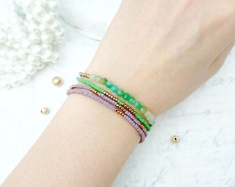Toho Beaded Bracelet - Green and Purple bracelets, Stretchable, Mulit Layered Bracelets, Green Agate