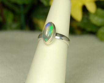 Opal Ring, Size 6, Marquise Opal, Royal Blue, Purple Teal Flashes, Rainbow Opal, Sterling Silver, Ethiopian Opal, Natural Opal, Welo Opal