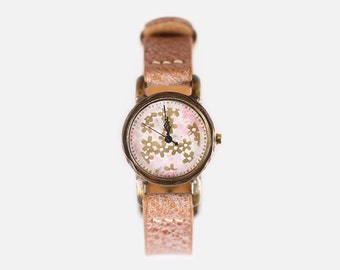 Vintage Steampunk Handmade Woman Wrist Watch with Handstitch Leather Band /// CalliaS - Perfect Gift for Birthday, Anniversary