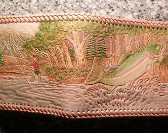 Leather Wallet With Colorful Trout Scene