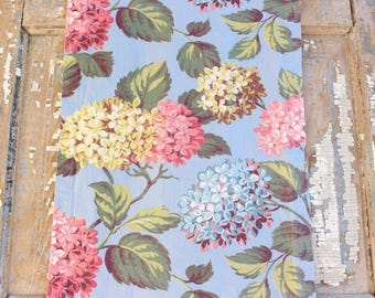 Vintage 1930s Summer Cottage Blue Hydrangea Floral Fabric Drapery Panel