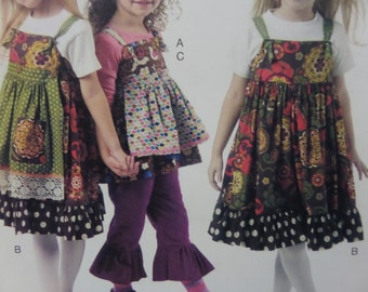 APRONED TOP & PANTS Pattern • McCall's 6387 • Girls 2-5 • Ruffled Pants • Tie Strap Jumper Pattern • Childrens Patterns • WhiletheCatNaps