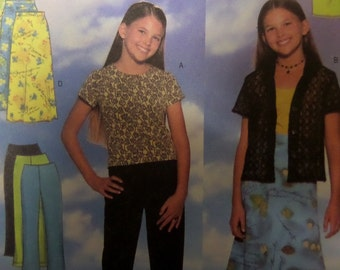 MICRO MINI SKIRT Pattern • Butterick 5447 • Girls 7-10 • A-Line Skirt • Top & Pants • Sewing Patterns • Childrens Patterns • WhiletheCatNaps