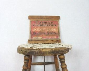 Vintage Crate Advertising Sign Eatmore Cranberries Primitive Rustic Decor