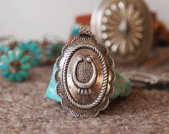 RVC-37, Vintage Fred Harvey ear inspired Sancrest concho necklace