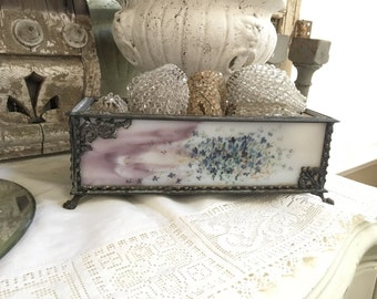Vintage Glass Hand Painted Flowers French Stained Glass Box