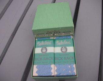 NUFASHOND Vintage Rick Rack in original box of 12 light blue