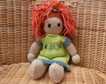 """12"""" Handmade Hand Knitted Doll Red Hair Doll Redhead Ginger Doll. Soft Wool Doll Traditional Doll. Rag Doll  with  removable Knitted Dress"""