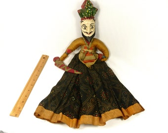 Indian Doll Antique Carved Wooden Head Original with Fabric Traditional Clothing