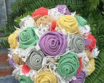 Spring, fabric bouquet, wedding bouquet, Lavender, Mint, Yellow, Coral, Grey Burlap and Lace Wedding Bouquets, Bridal Bouquet Rustic Wedding