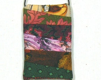 Cellphone Pouch, Quilted Fabric Pouch, Crossbody Pouch, Cellphone Holder,  Small Shoulder Bag, Quilted Pouch, Cellphone Bag,