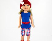14 inch doll clothes,  tunic, leggings, belt and handmade hat, designed to fit like wellie wishers™ doll clothes