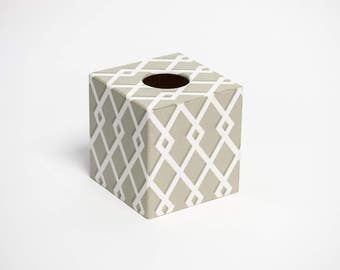 Tissue Box Cover Moroccan Taupe wooden handmade in UK