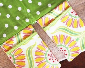 Diaper Changing Pad - Diapering on the Go - Green with White Polka Dots