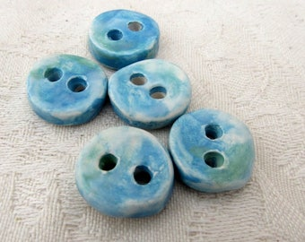 5 Small Round Blue Green Ceramic Buttons