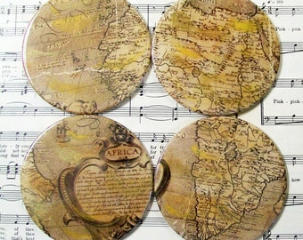 Round African Map Coasters, African Decor, Historical Map Antiqued Map Set of 4 Map and History Lovers Coasters Housewarming Gift Home Decor