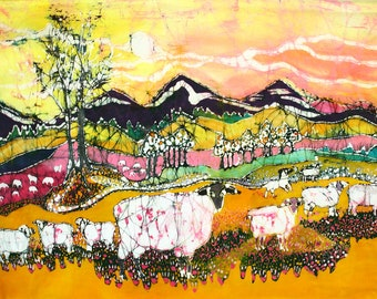 Sheep on a Sunny Summer Day - mirror image fabric for quilting and applique