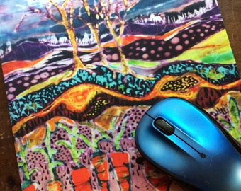 Garden Mousepad  9  - After the Thunderstorm -  mousepad from original batik by Carol