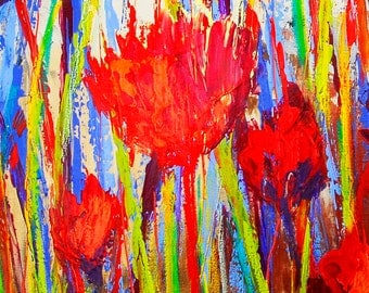 "Fine Art Giclee Print ""Red Solstice I"" From Original Floral Painting by Claire McElveen Signed"
