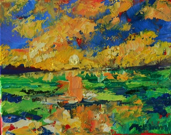 Marsh Abstraction - Original Abstract Oil Painting Landscape Painting by Claire McElveen - Made To Order